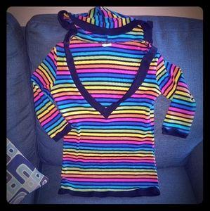 Rainbow striped deep v neck shirt